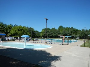 The swimming pool, a short stroll from our house.