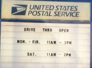 Drive-thru postal service (with spelling mistake)