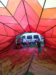Inside a balloon