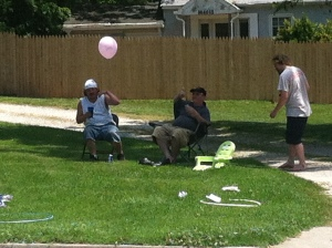 These guys were on their front lawn (and totally out of it) enjoying the free festival and music!