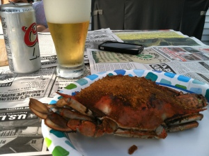 Beer and crabs (no wonder I've put on 10lbs since I've been in the USA!)