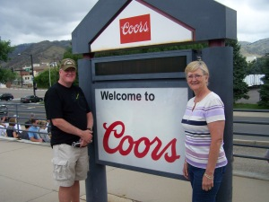 Karen and Andy at one of Colorado's major and most important landmarks, the Coors brewery (!)