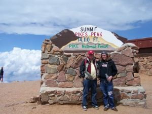 At the top of Pikes Peak which is the mountain we see from anywhere in Colorado Springs