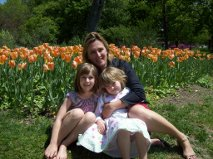 Emma and her daughters among the tulips at Sherwood Gardens, Baltimore