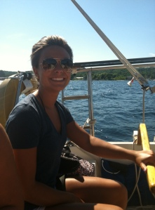 Danielle sailboating in Traverse City
