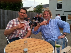 Two fine specimens of the British drinking beer garden culture pre-curry