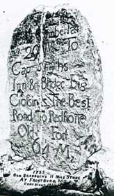 "In the 1750s a British General, Edward Braddock, marched 2,000 troops through the Allegheny Mountains toward what is now Pittsburgh, Pennsylvania. Along the way a 2000-pound rock was set up near Frostburg, Maryland, engraved with distances and directions to places such as Captain Smyth's Inn and Redstone Old Fort. People came to call it ""The Braddock Stone."""