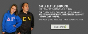 Get your Greek letter hoody (or Farmhouse one, if available)