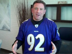 Ken in his Ravens gear. I'll let him off the synthetic material, cos he is the County Executive ;)