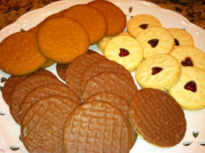 Jammy Dodgers, normal Digestives and chocolate Digestives :)