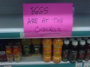 A mischief night sign in a store....