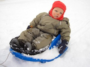 Kid on a sled, innit