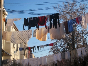 Laundry in NYC hanging out to dry....