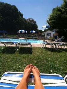 Sunbathing at a pool