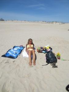 Sunbathing at a beach