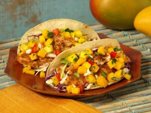 The Baja fish taco is the best, with mango salsa