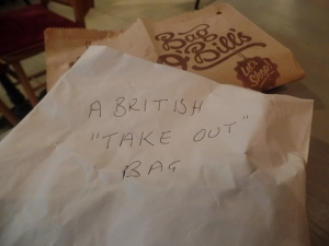 The British version of the take out box...