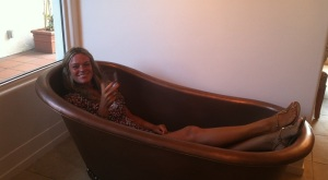 Cos everyone drinks wine in the bath in California!